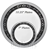 buyNsave Black With Silver Heavyweight Plastic Elegant Disposable Plates, ...