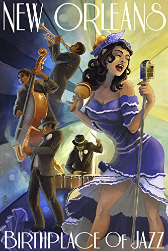 Jazz Scene - New Orleans, Louisiana Art Print, Wall Decor Travel Poster