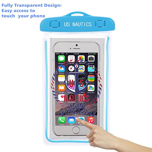 """Universal Waterproof Dustproof Case by U.S. Nautics -Cellphone Dry Bag Pouch for iPhone X/8/8 Plus/7/7 Plus/6s/6/6s Plus Samsung Galaxy S9 Plus/S8 Plus/S7 LG V20 Google Pixel up to 6"""" (Blue)"""