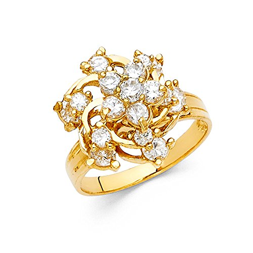 Ioka - 14K Yellow Solid Gold Cubic Zirconia CZ Flower Motion Ring - size 6 - Yellow Gold Spinning Ring