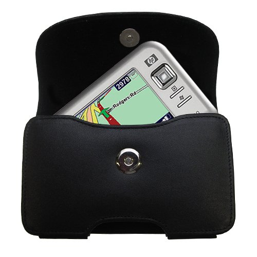 Belt Mounted Leather Case Custom Designed for the HP iPAQ rx5910 / rx 5910 - Black Color with Removable Clip by Gomadic