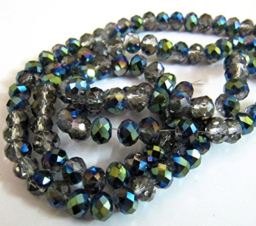 Mystic Coated Smoky Quartz Rondelle Faceted Beads / 6mm Size Green Coated Hydro Quartz Beads / approx. 100 Beads per Strand- Titanium (Smoky Quartz Rondelle Beads)