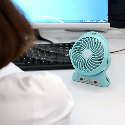 Accmor USB Mini Outdoor Portable Fan with Power Bank and LED Light Table Office Fan with 2000mAh Rechargeable Battery, Personal Portable Fan, Desktop Fan Blue by accmor (Image #4)