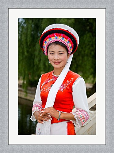 China Lady Costume (Bai Minority Woman in Traditional Ethnic Costume, China by Charles Crust / Danita Delimont Framed Art Print Wall Picture, Flat Silver Frame, 27 x 36 inches)