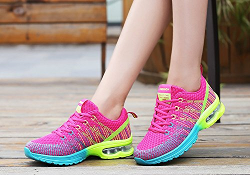 Air Sneakers Town Running No Rose Fashion Flyknit Cushion Womens 66 Red Shoes Athletic q1wRt
