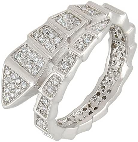 EVER FAITH Silver-Tone Zircon Art Deco Snake Shape Party Ring Clear