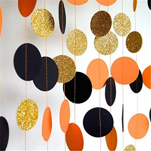 Hangnuo 16.4ft Colorful Dot Paper Garland For Wedding Birthday Anniversary Party Christmas Girls Background Decoration Black+Orange+Gold (Black And Orange Party Decorations)