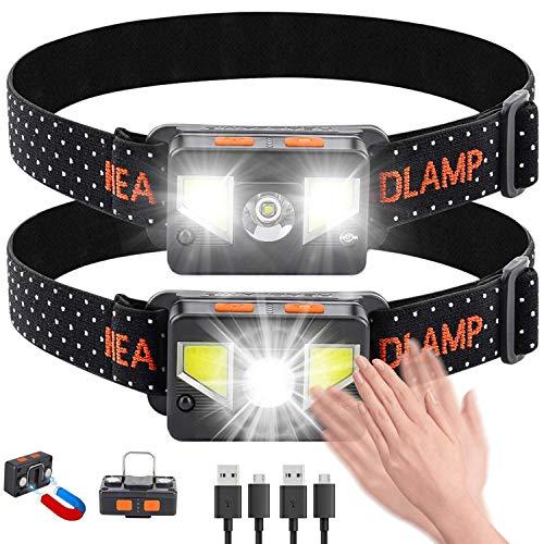 bedee Linterna Frontal LED Recargable, Linterna Cabeza USB 8 Modos con Sensor y Luz Roja, 1000 Lúmenes Frontal LED Recargable Impermeable para Running, Acampar, Pesca, Ciclismo, Excursión(2 Unidades)