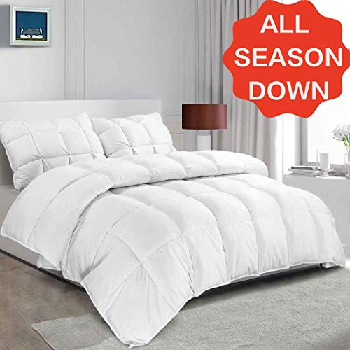 SOPAT Luxurious Goose Down Feather Comforter King Size Duvet Insert All Seasons Solid White Hypo-allergenic Down Proof Shell with Tabs, 106
