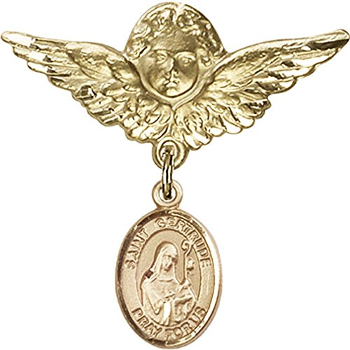 14kt Yellow Gold Baby Badge with St. Gertrude of Nivelles Charm and Angel w/Wings Badge Pin 1 1/8 X 1 1/8 inches by Bonyak Jewelry Saint Medal Collection