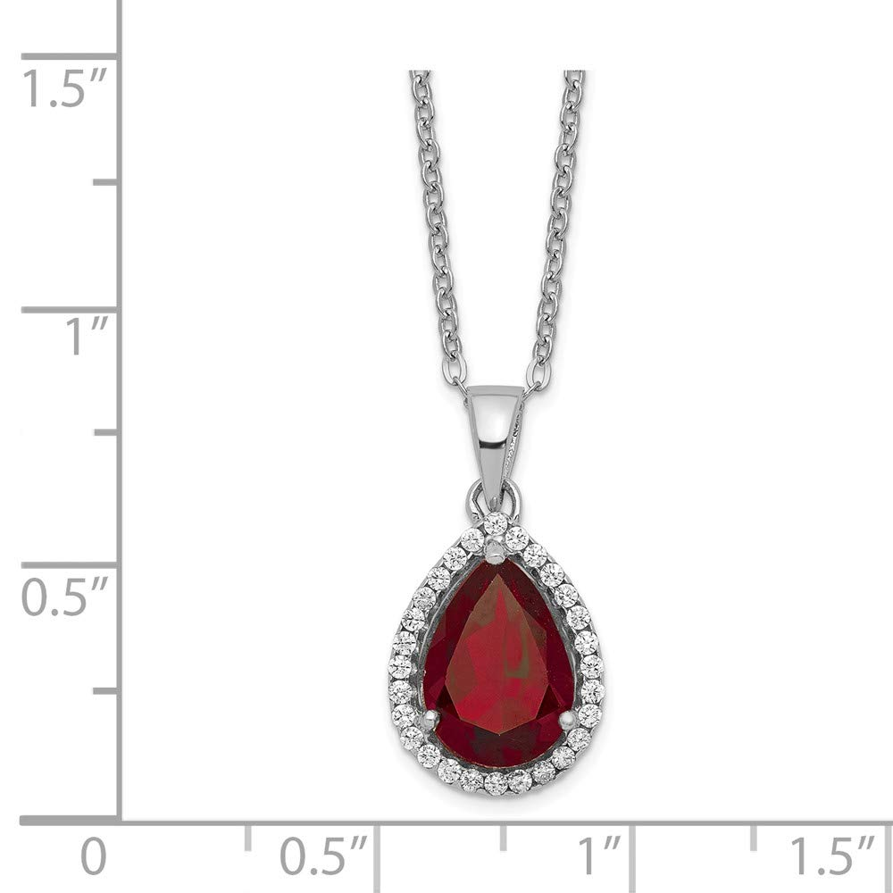 Sterling Silver Polished Garnet /& CZ Necklace 18 Inches