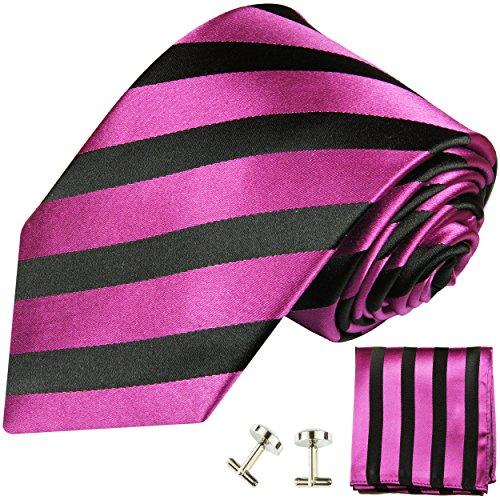 Cravate rose rayée noir ensemble de cravate 3 Pièces ( 100% Soie Cravate + Mouchoir + Boutons de manchette )