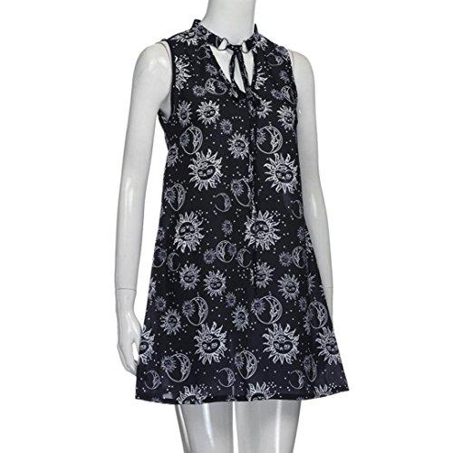 73e04601344 ... Keerads Femmes Licol Floral V-cou Soirée De Plage Sans Manches Mini Robe  Noire ...
