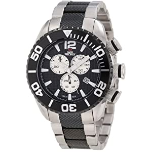 Swiss Precimax Men's SP12163 Deep Blue Pro II Black Dial with Black Stainless Steel Band Watch