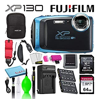 Fujifilm FinePix XP130 Waterproof Digital Camera (Sky Blue) Advanced Accessory Bundle -Includes- 64GB SD Card + 16GB SD Card + Camera Case + Extra Battery + Battery Charger + Floating Strap + More