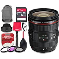 Canon EF 24–70mm f/4L IS USM Lens with 32GB Ultra Pro Speed Class 10 SDHC Memory Card + 3pc Filter Kit (UV-FLD-CPL) + Deluxe Sleeve + Celltime Microfiber Cleaning Cloth - International Version