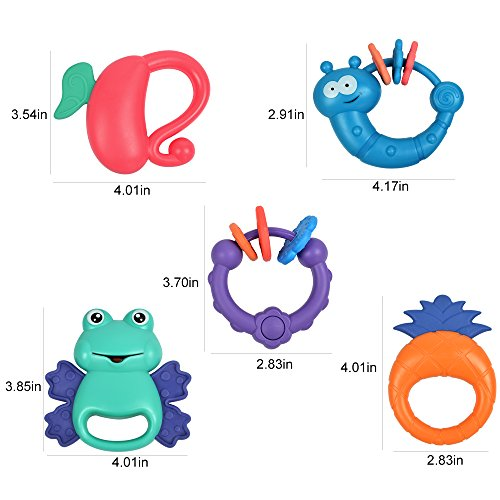 TUMAMA 5 Pack Rattle Teether Set Baby Toys, Baby Hand Development Rattle Toys for Newborn Infant with Giant Bottle Birthday Gift for 3 6 9 12 18 Month by TUMAMA (Image #5)