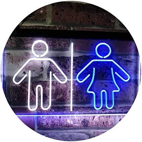 ADV PRO Toilet Man Woman Male Female Washroom WC Restroom Dual Color LED Barlicht Neonlicht Lichtwerbung Neon Sign Blau /& Gelb 300 x 210mm st6s32-i3047-by