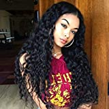 """ALICE Black Wig Lace Front 22"""" Long Loose Curly Wig for Women, Pre"""