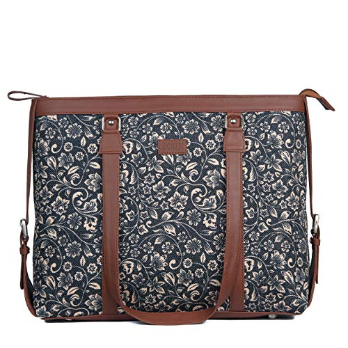 ZOUK Black Floral Printed Handmade Vegan Leather Women's Office Bag for 15.6 inch Laptop with double handles – FloMotif