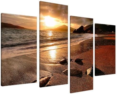 LARGE HORSES GOLDEN SUNSET CANVAS ART PICTURE MULTI 4 PANEL WALL ART 100 cm wide