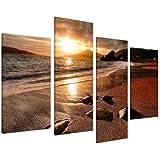 Cuadros en Lienzo Grande Amanecer Playa Set de Imágenes XL Pared sala de Estar 4131