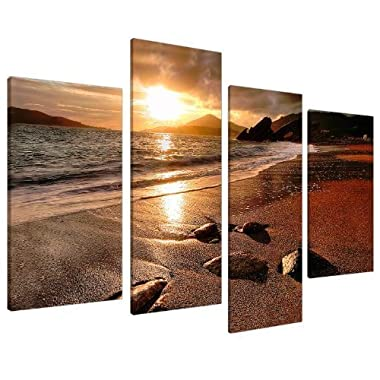 Large Golden Brown Sunset Beach Canvas Wall Art Pictures - Multi Panel Artwork - Set of 4 Landscape Prints - Split Canvases - XL - 51  Inches Wide