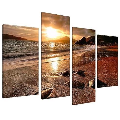 Amazonde Große Leinwand Strand Sonnenuntergang Fürs - Grobe bilder furs wohnzimmer