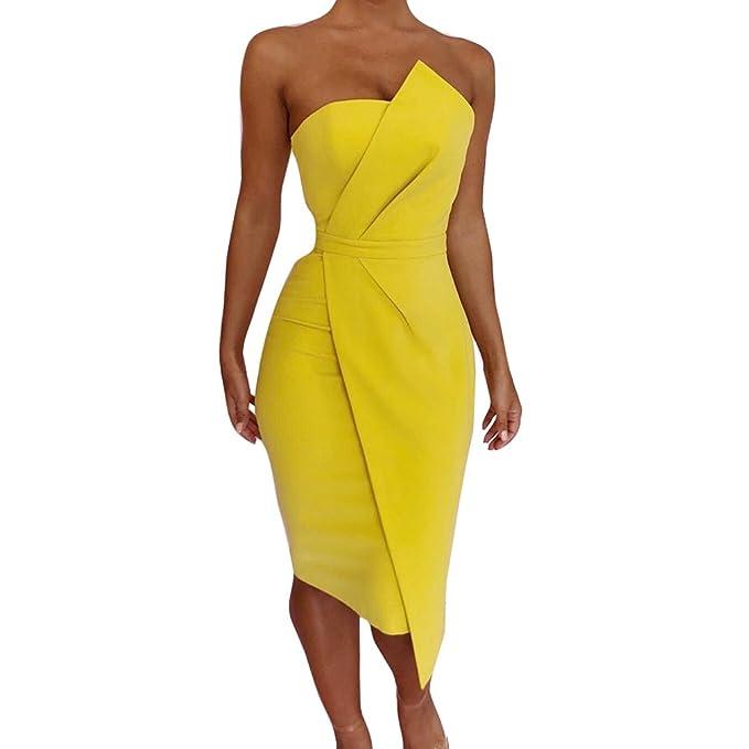 Juleya Color Puro Vestido para Fiesta Vestidos Para Mujer Vintage Elegantes Moderno Sin Hombros Mujer Noche Fiesta Largo S - XL: Amazon.es: Ropa y ...