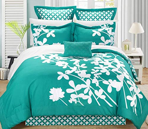 - Chic Home Iris 7-Piece Comforter Set with Four Shams and Decorative Pillow, Queen Size, Turquoise, Bedskirt