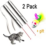 2 Pack Laser Cat Toys, QMAY 2 in 1 Chaser Toy, Interactive Exercise Cat Toy with Cat Dog Light Training Tools (Need 1 * AA Battery)