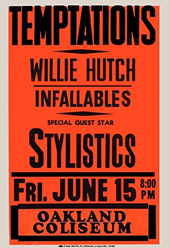 The Temptations Concert Poster 1966 With the Stylistics Oakland Col