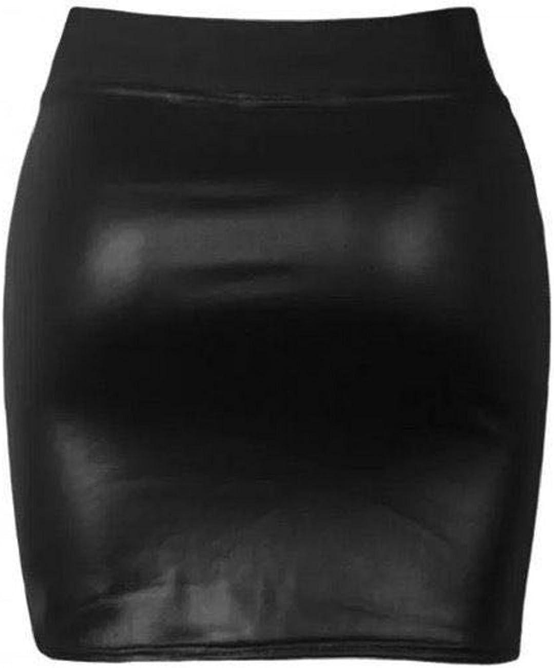 FH STREET Black Wet Look Shinny Faux Leather Short PVC Mini Skirt-Size-New