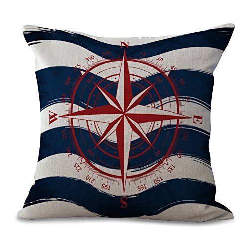 Miracle Dec Summer Nautical Compass Pattern Linen Polyester Square Sofa Throw Pillow Covers (18x18, Red&Navy)