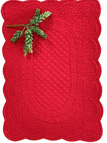 (Aragonimports Quilted Sonia Placemats Set of 4,Patterned After Antique Provençal Quilts Called boutis, These Place mats Recall The Style of a French Country Home (Red))