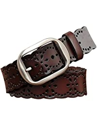 Womens Hollowr Flower Genuine Leather Vintage Belts With Needle Buckle Plus Size XXXL