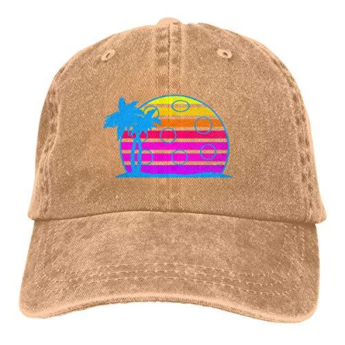 (Pickleball Retro Wave Sunrise Vintage 80s Style Baseball Cap Dad Hat Adjustable Hat Trucker)