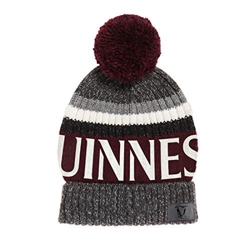 Guinness Burgundy Speckle Striped Bobble Winter Hat,Multicoloured,One Size ()