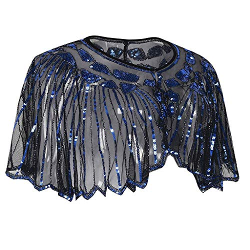 Women Shawls and Wraps Wedding Evening Glitter Metallic Prom Party Scarf Cover up Tops (Free Size, Blue)