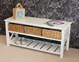 Gloucester 3 Drawer Shoe Storage Bench in Pearl White finish with 3 x Wicker Rattan Basket Drawers, Cabinet Farmhouse