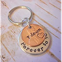 7 Year Anniversary 2010 Lucky Copper Penny with Down and Forever To Go Coin Key Chain