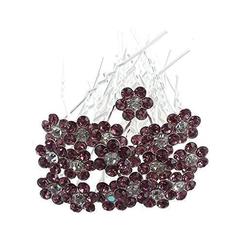 Crystal Rhinestone Wedding Bridal Flower Hair Clip Hairpin (Purple) C1L8