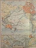 British Empire World Map Ocean Currents c.1900
