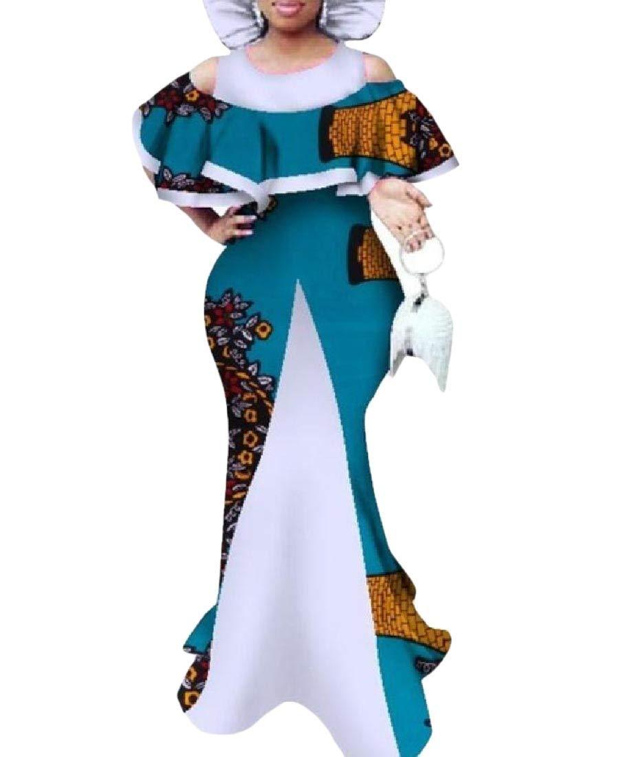 Women Dashiki Basic Cotton Cold Shoulder Africa Slim Long Dress 12 M