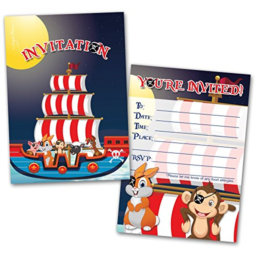 Party Invitation Cards | 20 Cards with 20 Envelopes | Animals Pirates Themed | Made for Kids | Flat Style | Colorful Design | Birthday Invitations | Party Invitations | Invitation Card | Birthday Party Invitations ()