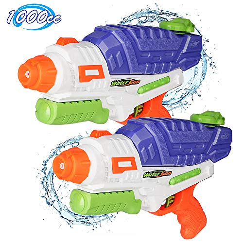 Water Gun for Kids, 2 Pack Squirt Guns Water Blaster 1000cc High Capacity 30 Feet Long Range Fast Trigger Swimming Pool Beach Party Favors Water Outdoor Fighting Toy for Adults Boy Girl