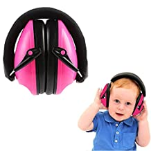 "Kids Earmuffs Foldable Headband Ear Defenders Hearing Protection Certified Ear Defenders Noise Reduction Adjustable Soundproofing Ear Muff for Kids Baby Infants Connie518® (18*12.5*8.5cm/7.2""*5""*3.41"", Rose Red)"