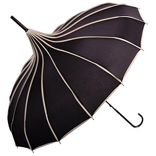 Kung Fu Smith Vintage Black Parasol Umbrella, Victorian UV Protection Rain Umbrella Parasol for Women and Girls