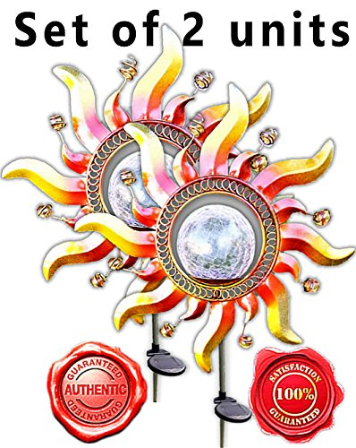 (Gorgeous Copper Metal Art Color Changing Solar Sun Lights Crackle Glass Ball Light Garden Stake (Set of 2))