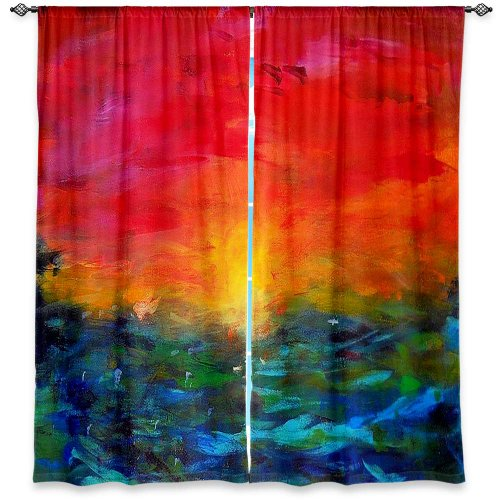 Window Curtains Unlined from DiaNoche Designs Artistic, Stylish, Unique, Decorative, Fun, Funky, Cool by Jackie Phillips Rainbow Sunset